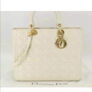 $4450 Retailed CHRISTIAN DIOR LG LADY DIOR  BAG/